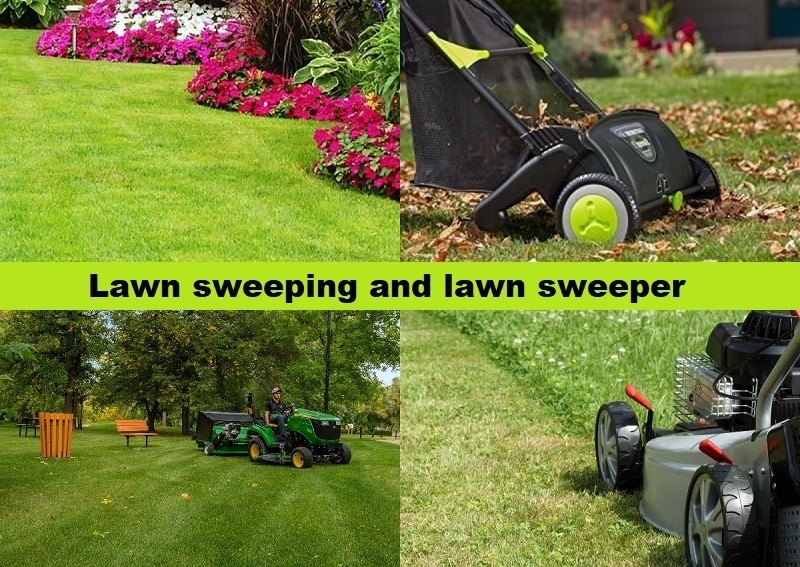 Lawn sweeping and lawn sweeper