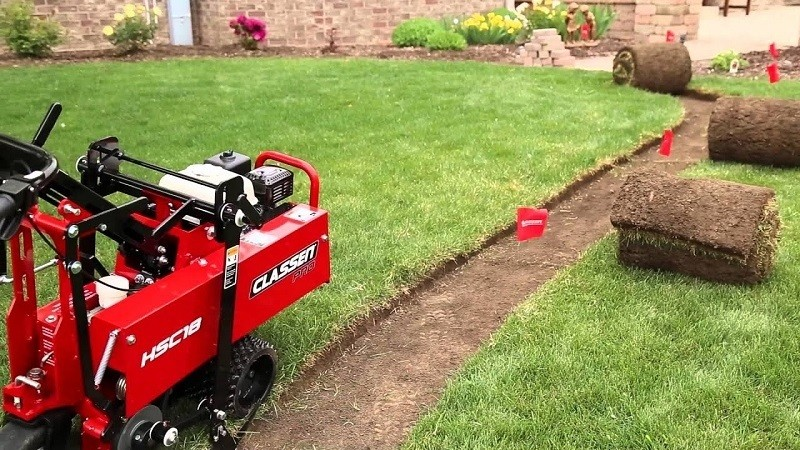 Cutting sod by a sod cutter machine